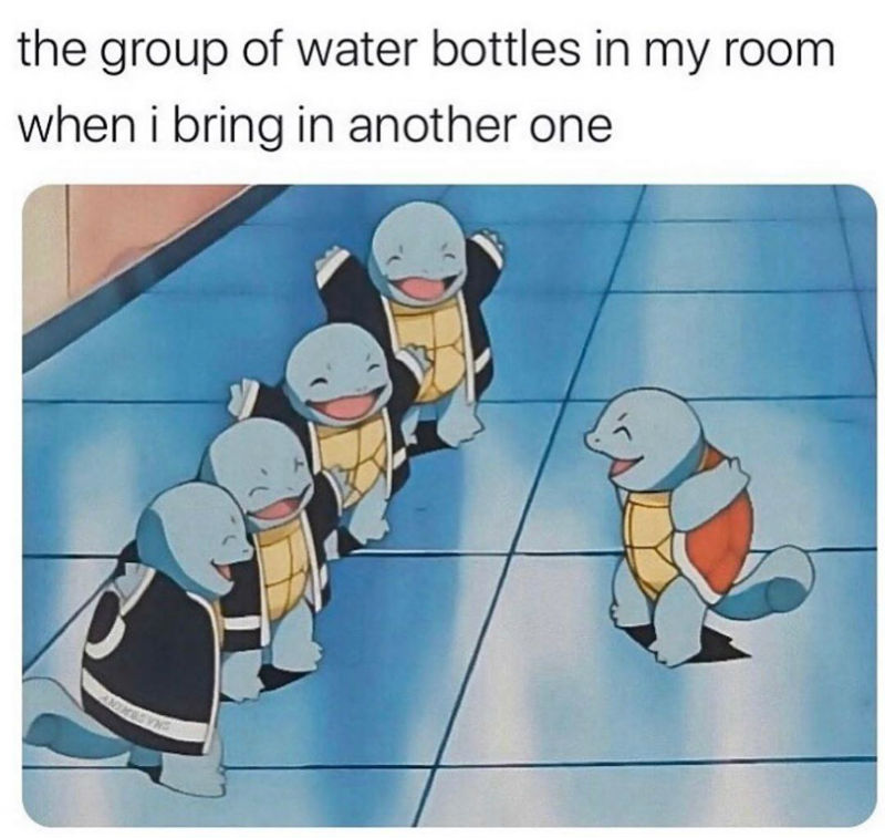 the group of water bottles in my room when i bring in another one meme