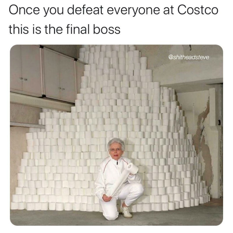 the final boss at costco toilet paper meme
