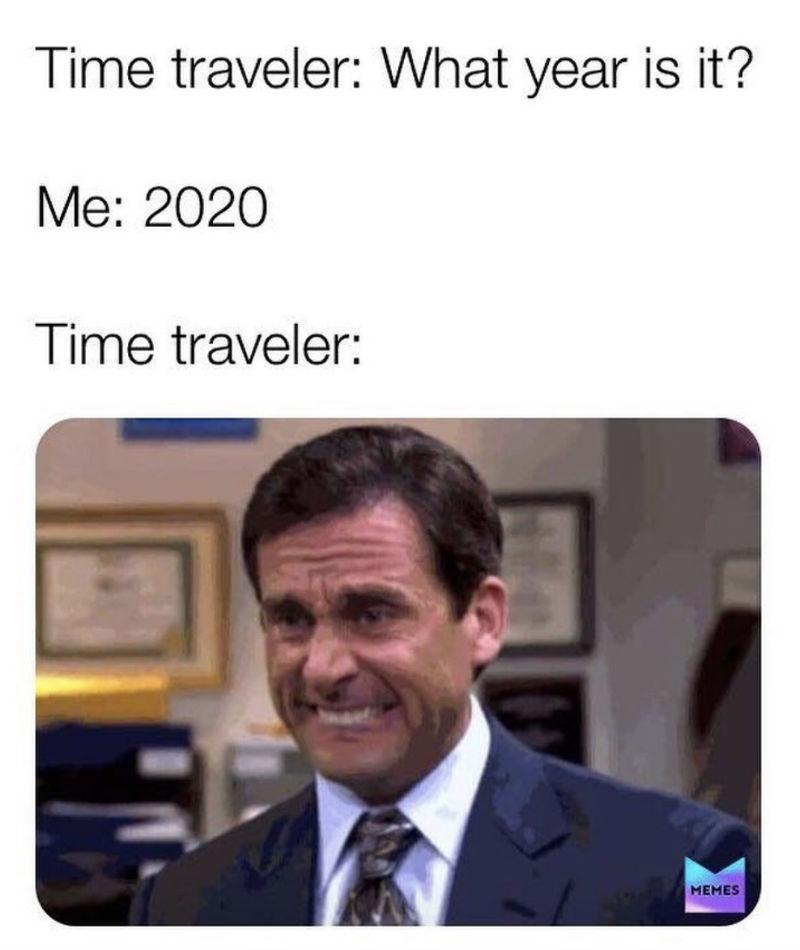 time traveler coronavirus meme