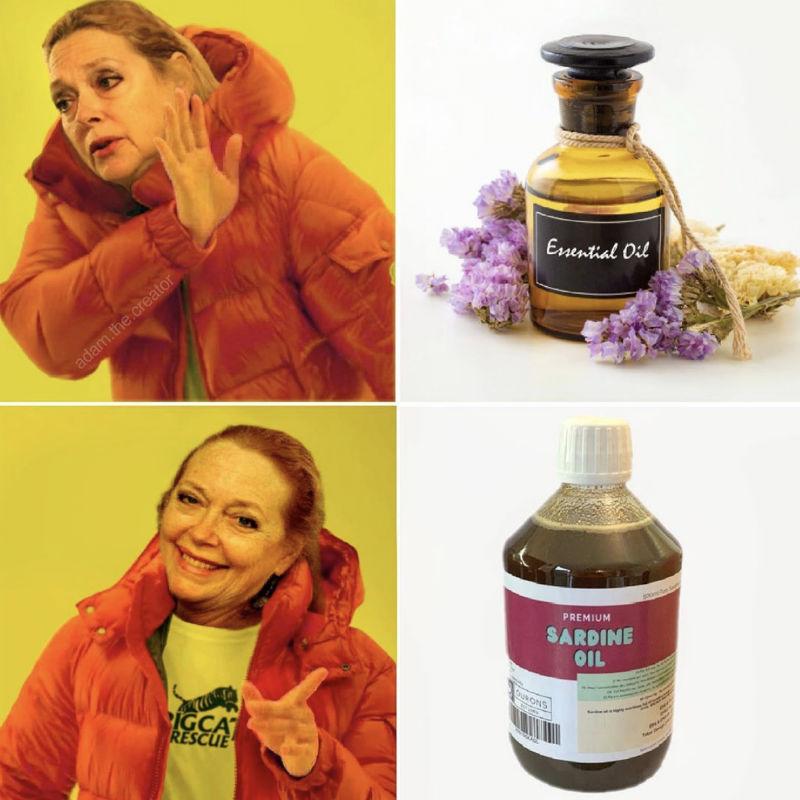 carole baskin sardine oil meme