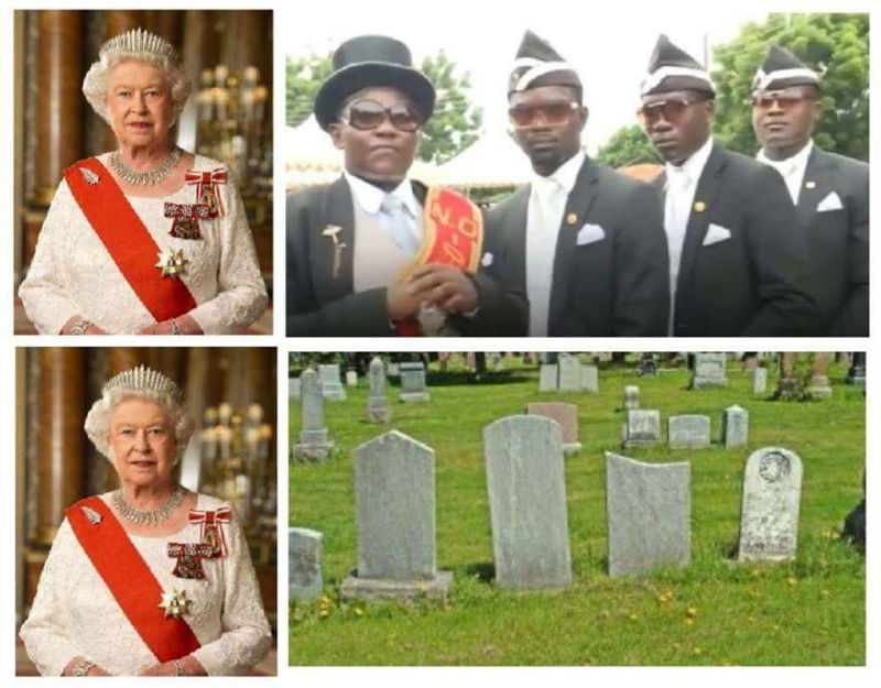 coffin dance guys vs the queen meme