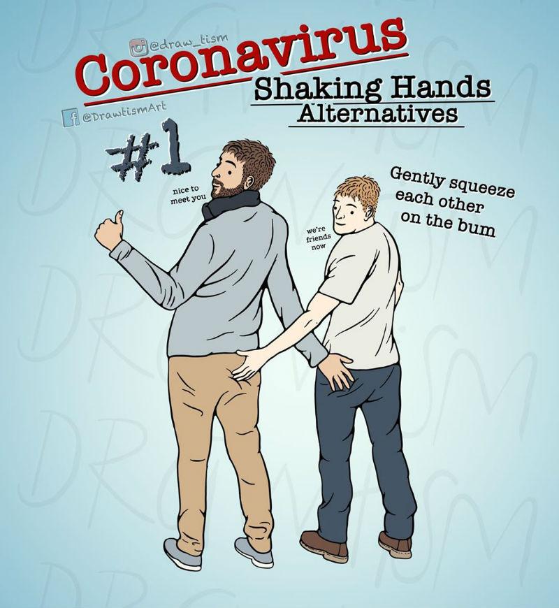 coronavirus shaking hands