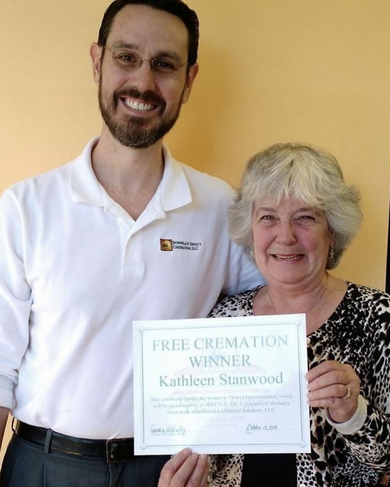 free cremation winner kathleen meme