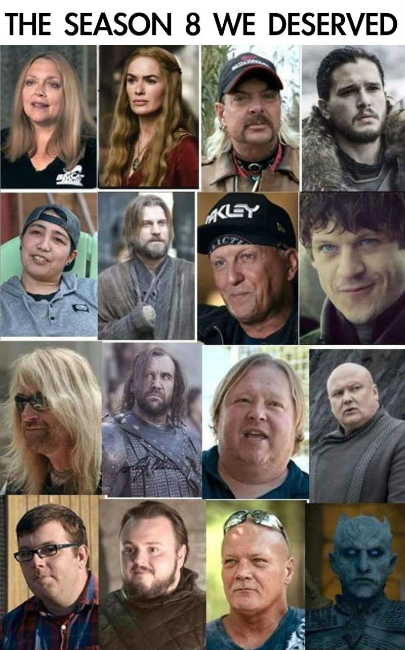game of thrones tiger king cast meme