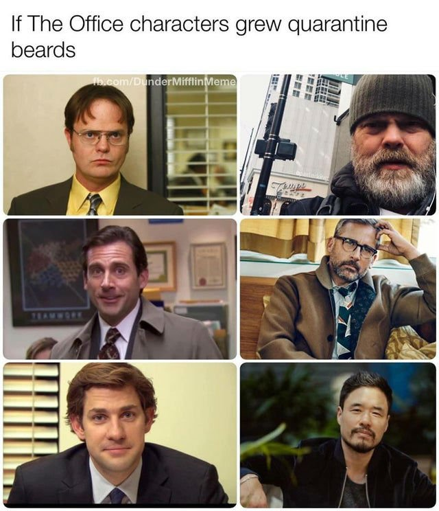 If The Office Characters Grew Quarantine Beards Meme Shut Up And Take My Money