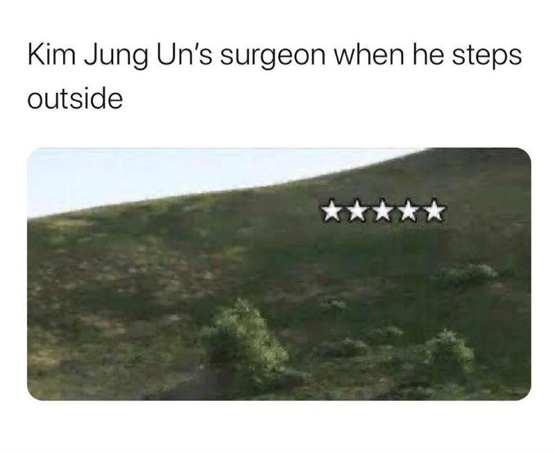kim jong un surgeon when he steps outside meme