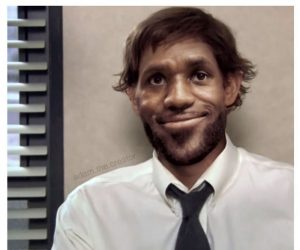 Lebron Jims – Lebron James as Jim from the Office – meme via @adam.the.creator