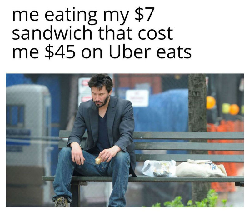 me eating my 7 dollar sandwich