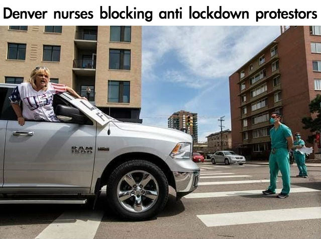 nurses blocking anti lockdown protesters