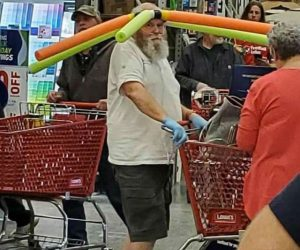 Pool Noodle Hat Guy – This man has revolutionized social distancing – meme