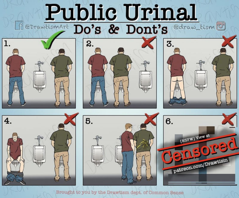 public urinals dos and donts meme