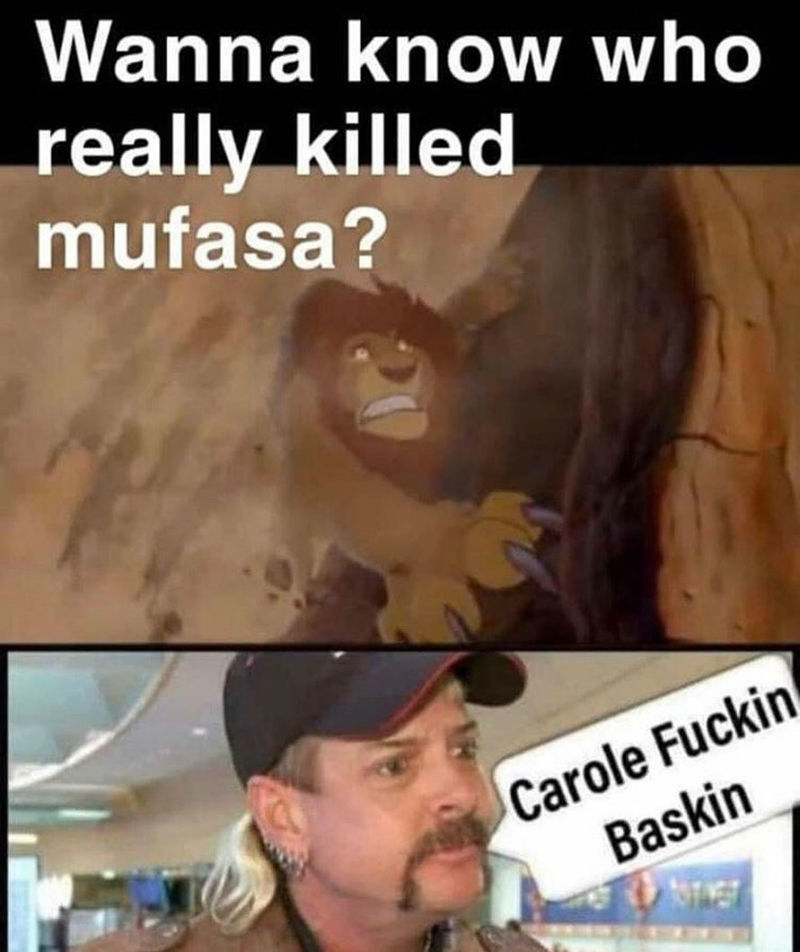 Wanna Know Who Really Killed Mufasa Carole Baskin Meme Shut Up And Take My Money