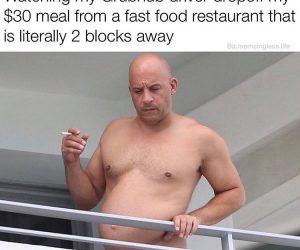 Watching My Grubhub Driver Vin Diesel Meme