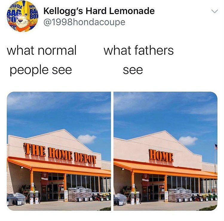 what normal people see what fathers see home depot meme