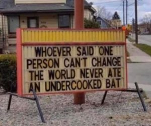 Whoever Said One Person Can't Change The World Never Ate An Undercooked Bat – Sign