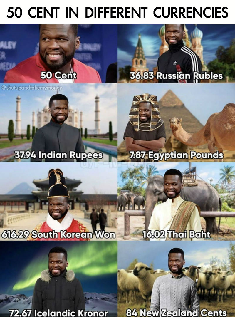 50 cent in different currencies