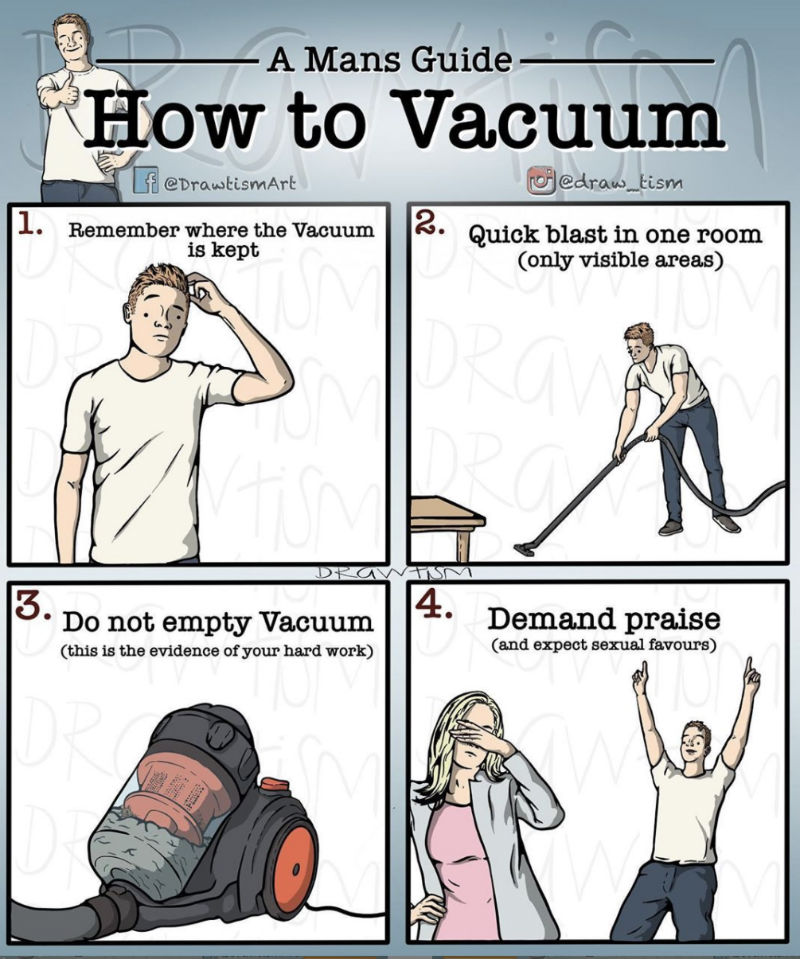 a mans guide how to vacuum meme