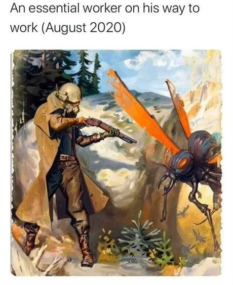 an essential worker on his way to work august 2020