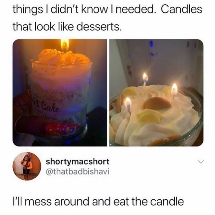 candles that look like desserts meme