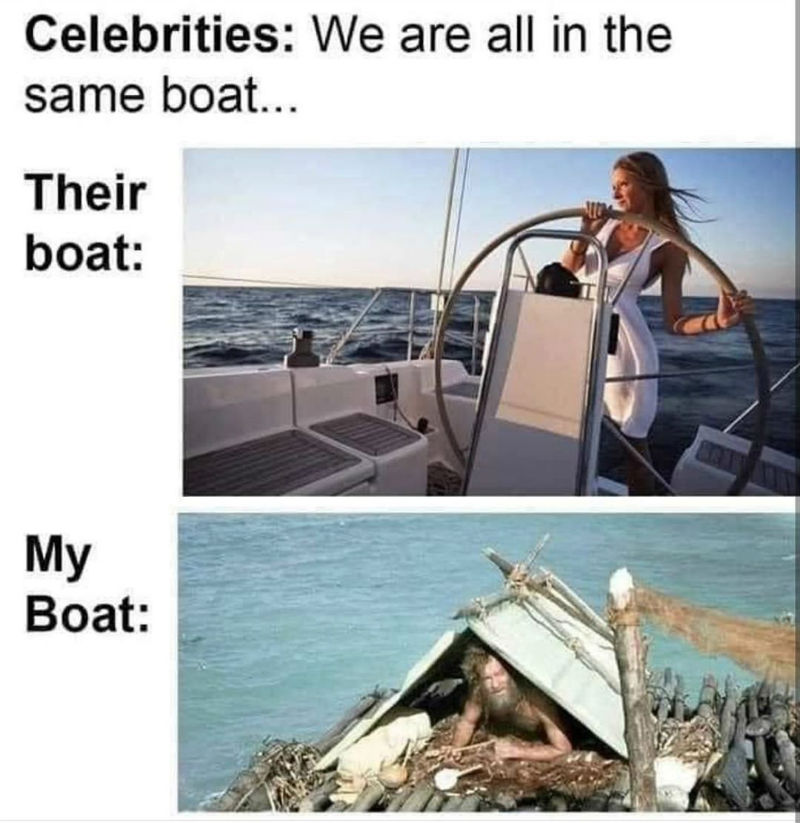 celebrities we are all in the same boat meme