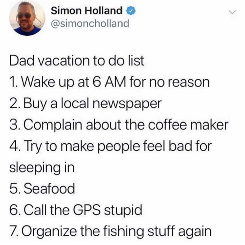 dad vacation to do list