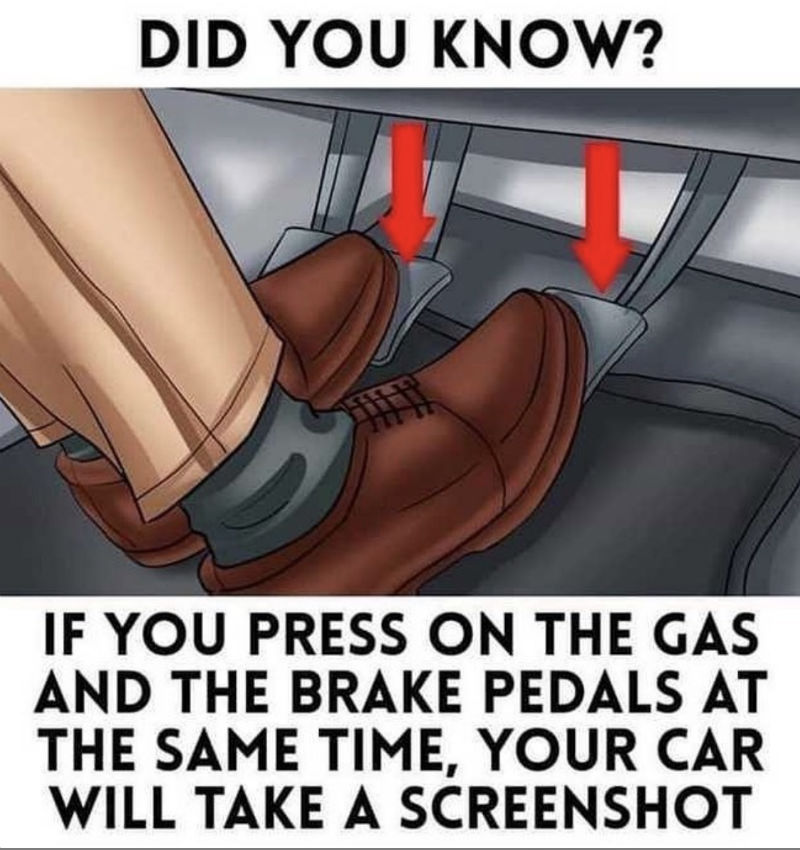 did you know if you press the gas and brake at the same time car will take screenshot