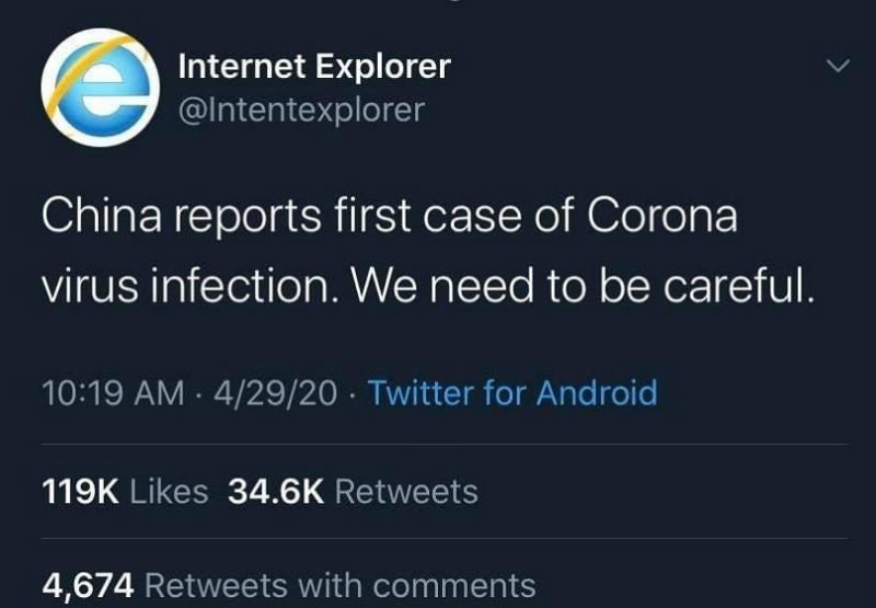 Internet Explorer Coronavirus Tweet Meme Shut Up And Take My Money