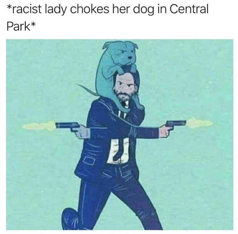 racist lady chokes her dog