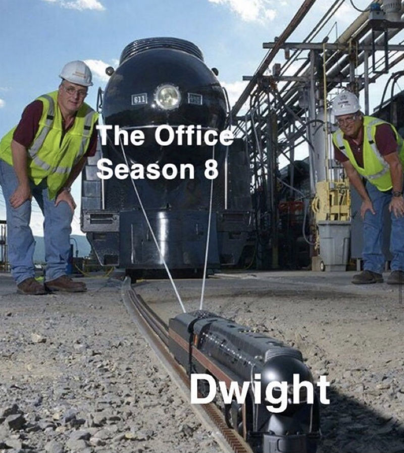 the office season 8 pulled by dwight train meme