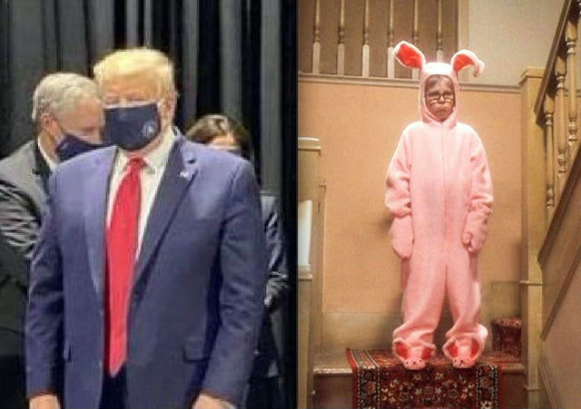 trump wearing face mask meme