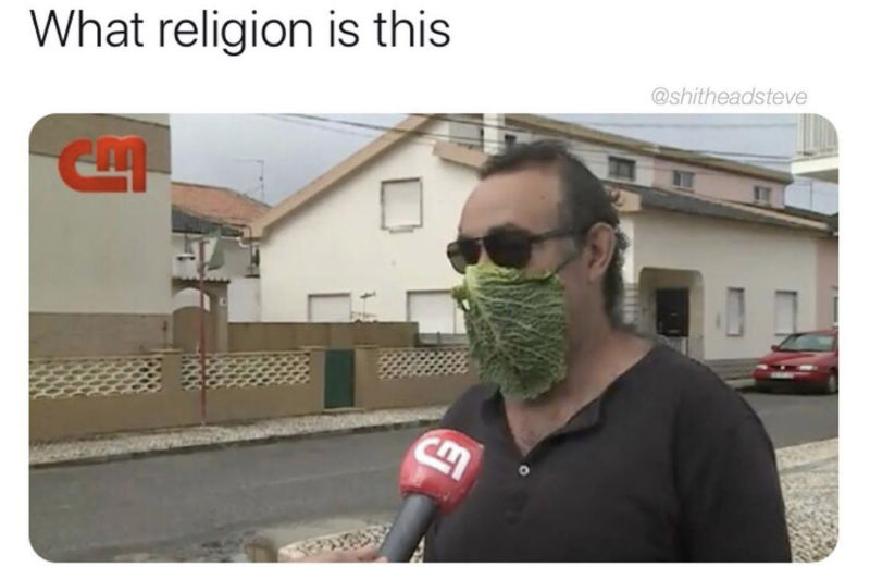 what religion is this lettuce face mask meme