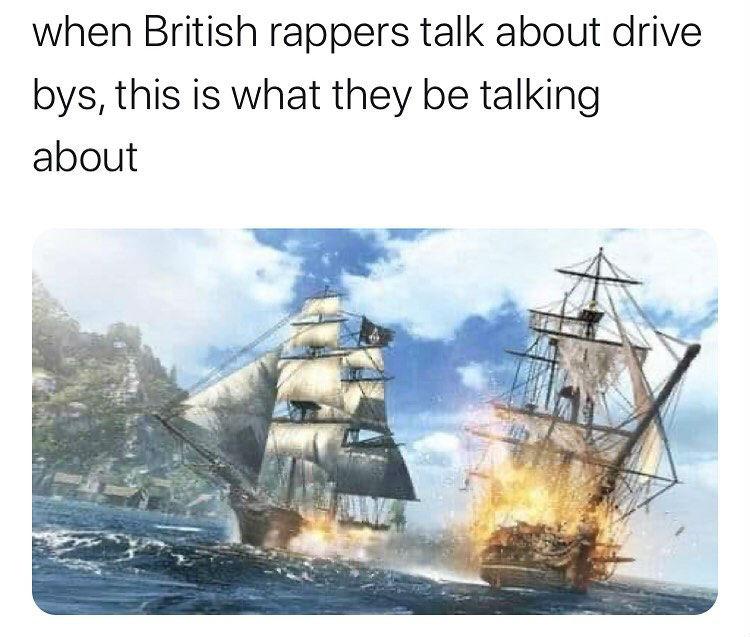 when british rappers talk about drivebys meme