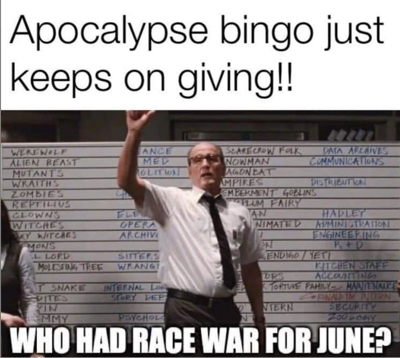 apocalypse bingo who had race war for june