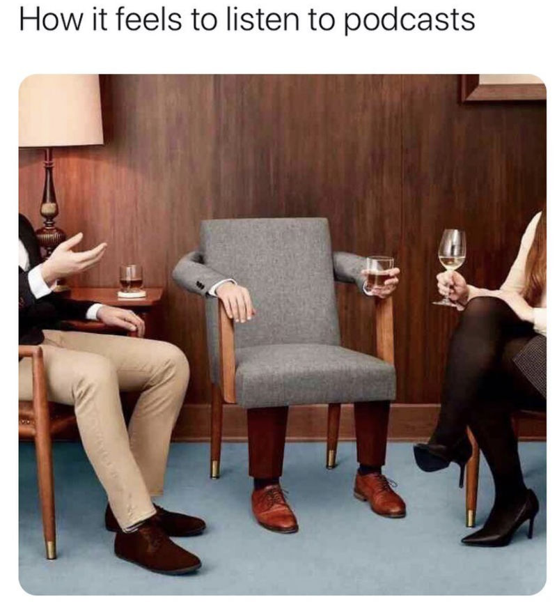 how it feels listening to podcasts meme