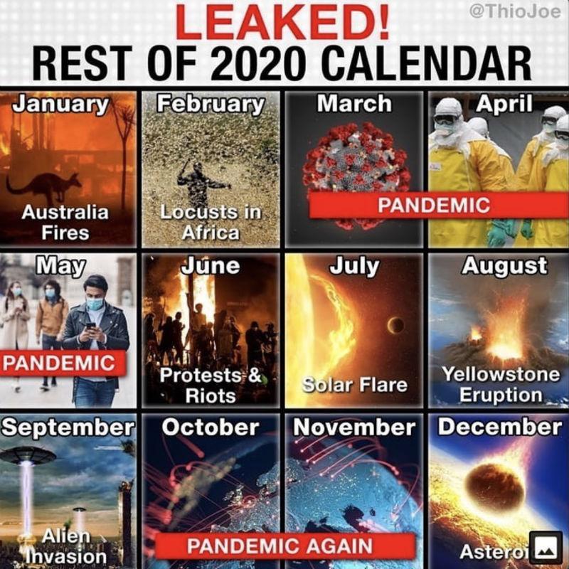 leaked rest of 2020 calendar
