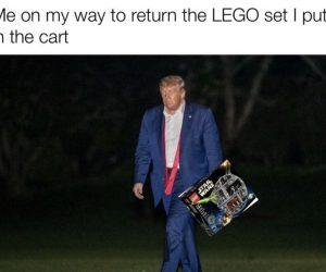 Me On My Way To Return The LEGO Set I Put In The Cart – Sad Trump Meme
