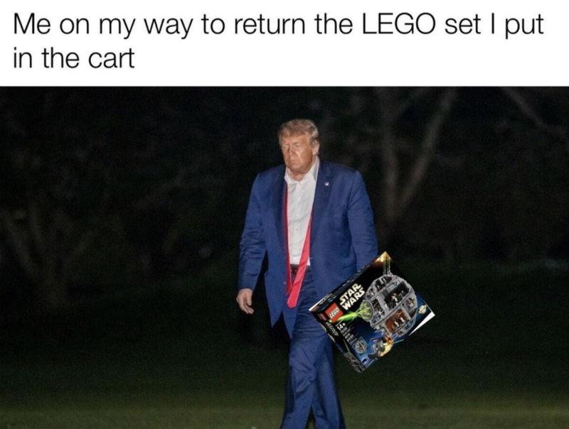 me on my way to return lego sad trump meme