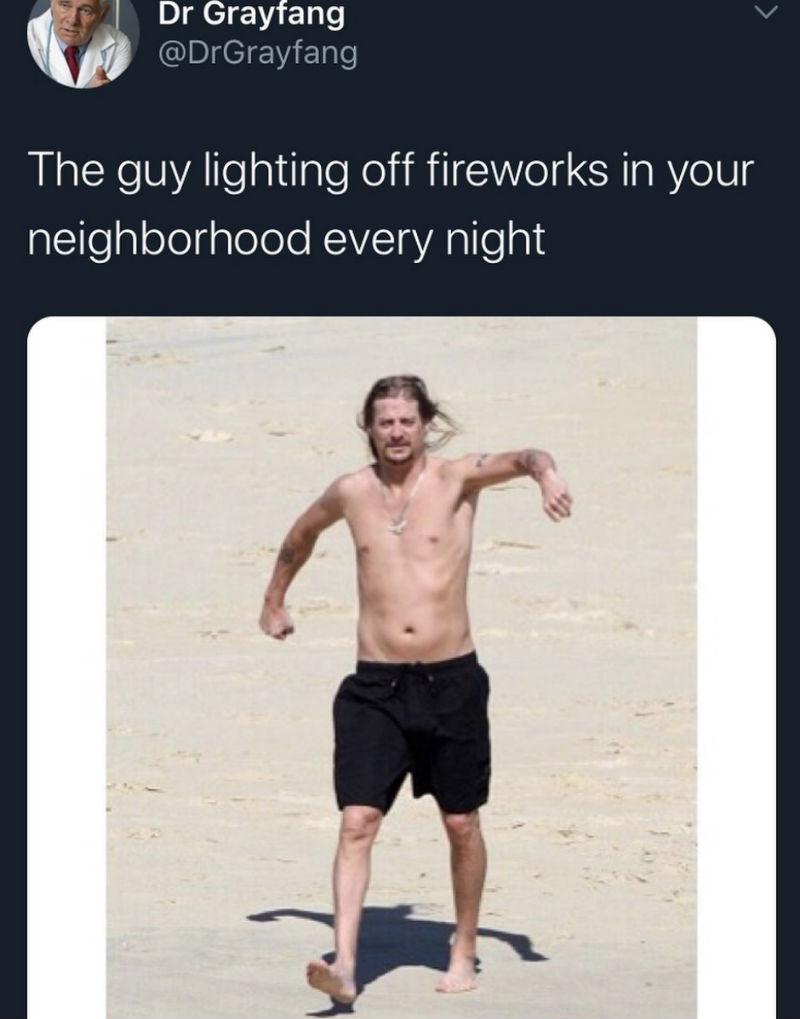 the guy lighting off fireworks meme