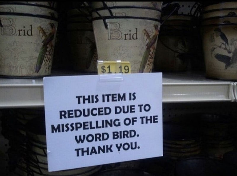 this item is reduced due to misspelling of the word bird
