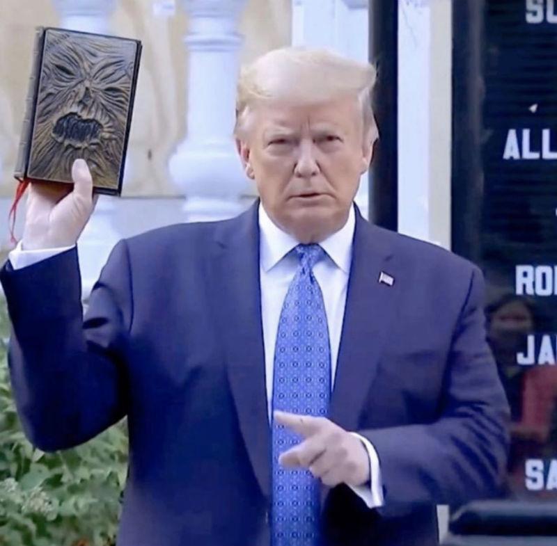 trump holding bible meme