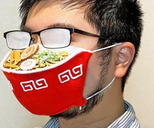 Ramen Face Mask –Chances are if you have glasses and wear a face mask, your glasses are going to fog up, so why not fog-up your glasses in style with