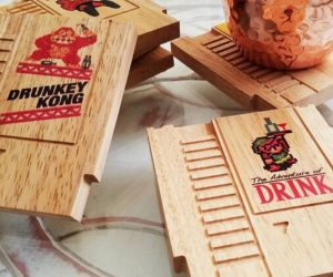 Retro 8bit Games Mini Wood Coasters – Be a hero, score points, and 1up your practical home decor with these solid wood retro 8bit (punny) coasters!