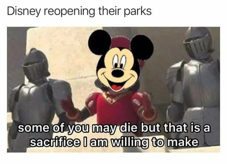 disney reopening their parks meme