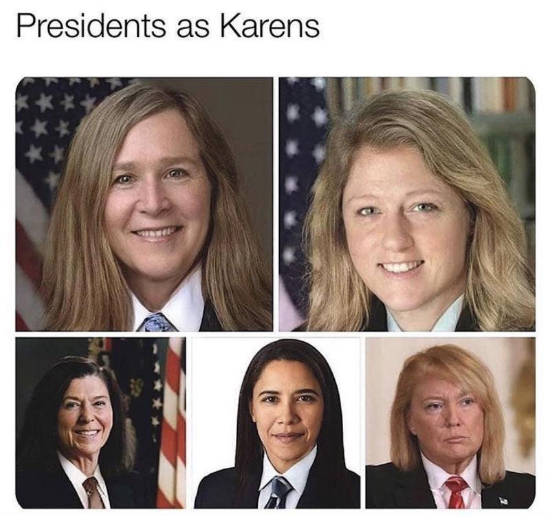 presidents as karens meme