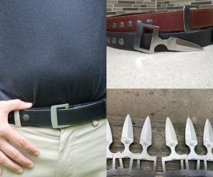 Burls Belt Buckle Knife & Belt Combo –  This leather belt & concealed knife combo was designed with self-defense in mind.