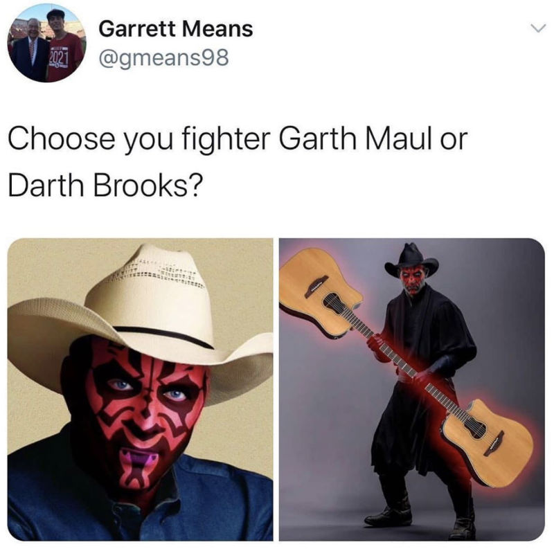 choose your fighter garth maul or darth brooks