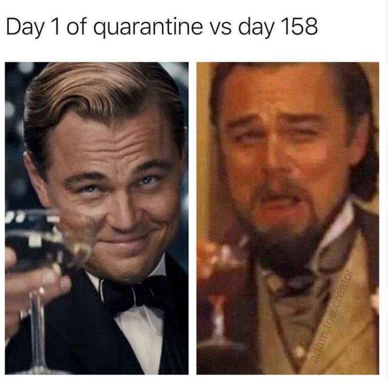 day 1 of quarantine vs day 158