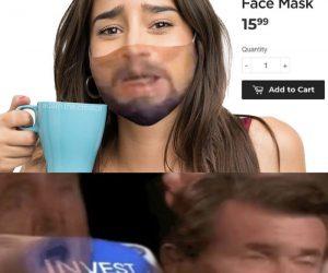 Leonardo DiCaprio Laughing Django Face Mask – Meme