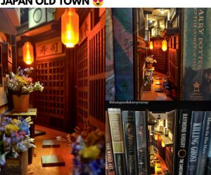 Japan Old Town Mini Alley Booknook – A high quality handmade miniAlley™ Bookshelf Insert™ Bookshelf Alley™ that captures a cozy Japan old-town.