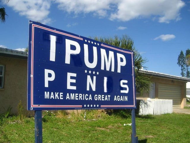 i pump penis yard sign
